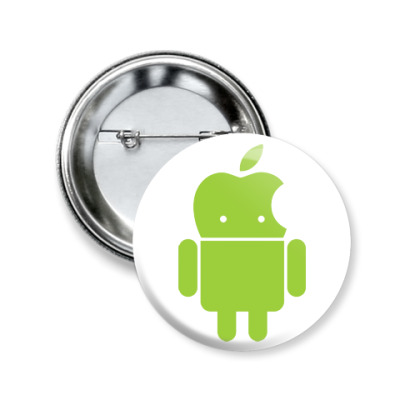 Значок 50мм Андроид голова-яблоко
