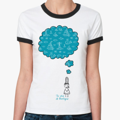 Женская футболка Ringer-T Мечтаю о Бретани