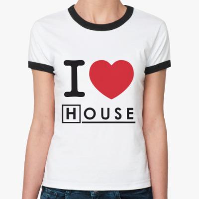 Женская футболка Ringer-T I heart House Ж()