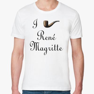 Футболка из органик-хлопка Я люблю Рене Магритта (трубка)