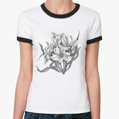 Женская футболка Ringer-T  Ирисы
