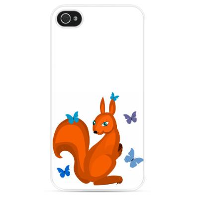 Чехол для iPhone Белочка и бабочки