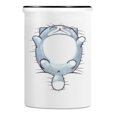 Подставка для ручек и карандашей Круглый кот