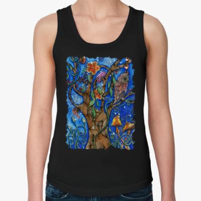 Женская майка Сова в волшебном лесу