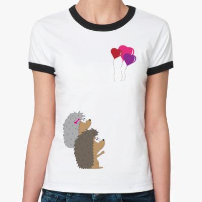 Женская футболка Ringer-T   Ежи