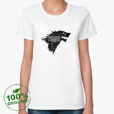 Женская футболка из органик-хлопка Winter Is Coming, Stark, Game Of Thrones