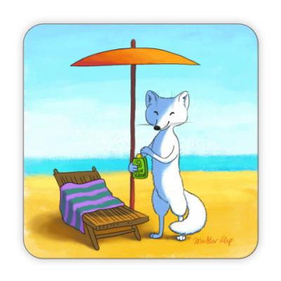 Костер (подставка под кружку) Песец на пляже