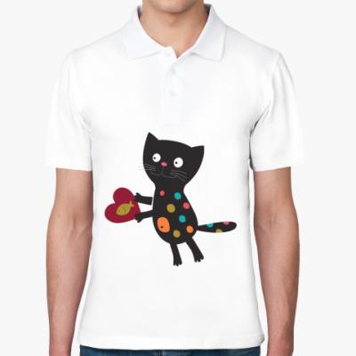 Рубашка поло Кот с сердцем парная