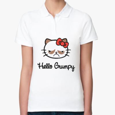 Женская рубашка поло Hello Grumpy Cat