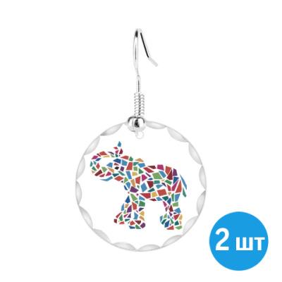 Серьги Слон - мозаика
