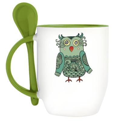 Кружка с ложкой Зеленая лесная совушка