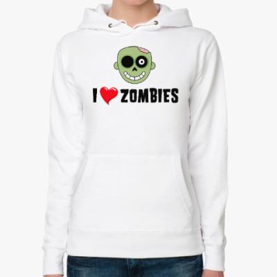Женская толстовка худи I love zombies