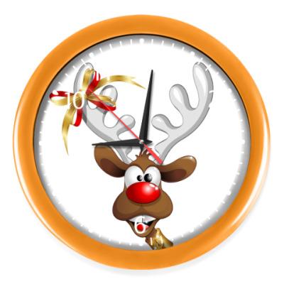 Настенные часы Часы, оранжевые (белые цифры)