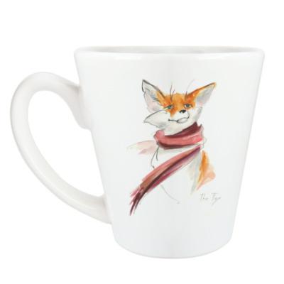 Чашка Латте Зимний лис в шарфе