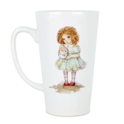 Чашка Латте Девочка с совой.