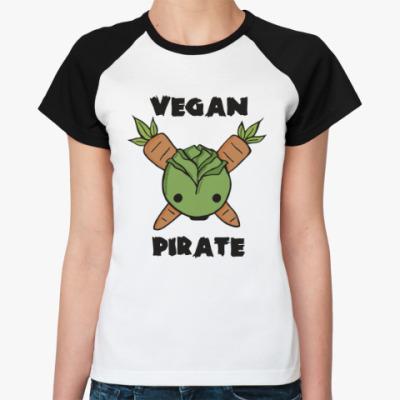 Женская футболка реглан Веган пират