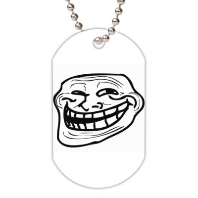 Жетон dog-tag  (белый) Trollface