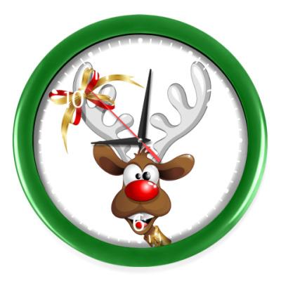 Настенные часы Часы, темно-зеленые (белые циф