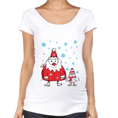 Футболка для беременных Дед Мороз и пингвин