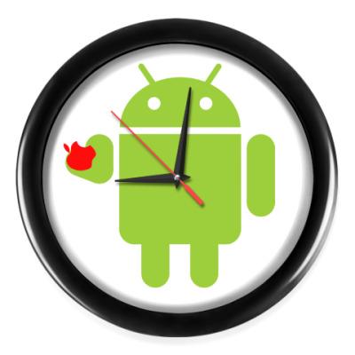Настенные часы Андроид с яблоком