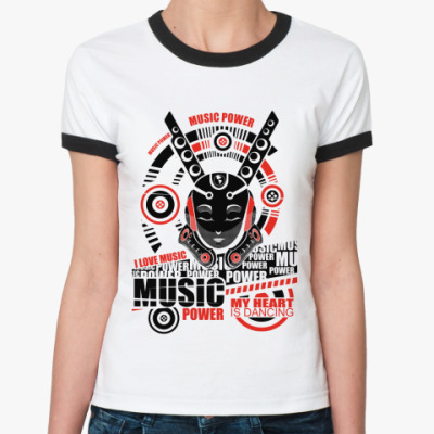 Женская футболка Ringer-T Music   Ж(бел/чёрн)