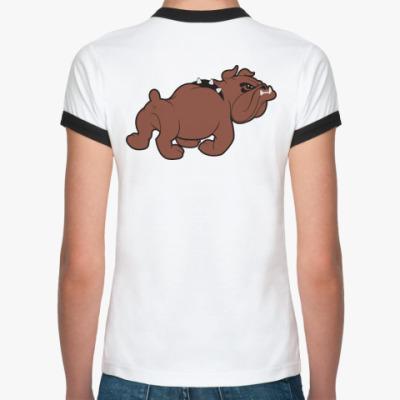 Женская футболка Ringer-T Позади собака!