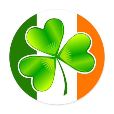 Виниловые наклейки Клевер на ирландском флаге