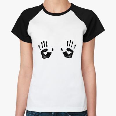 Женская футболка реглан Ой! Следы!