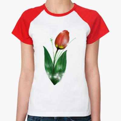Женская футболка реглан Король цветов