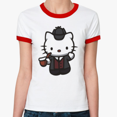 Женская футболка Ringer-T Китти Шерлок