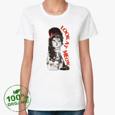 Женская футболка из органик-хлопка Кошка модница