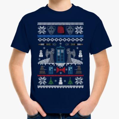 Детская футболка Новогодний Тардис