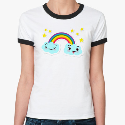 Женская футболка Ringer-T Улыбка радуги