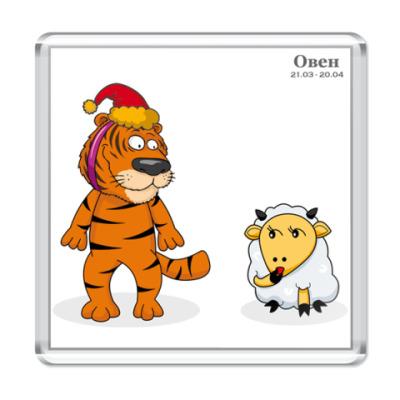 Магнит Новогодний тигр и Овен
