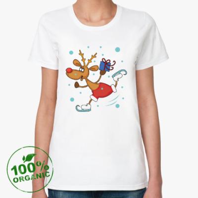 Женская футболка из органик-хлопка Олень на коньках
