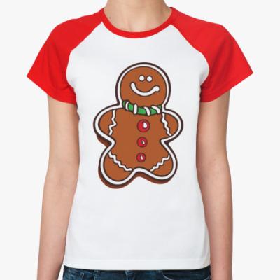 Женская футболка реглан Новогоднее печенье Пряня