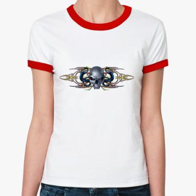 Женская футболка Ringer-T Череп/драконы