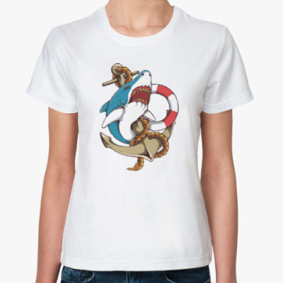 Классическая футболка Море. Акула.