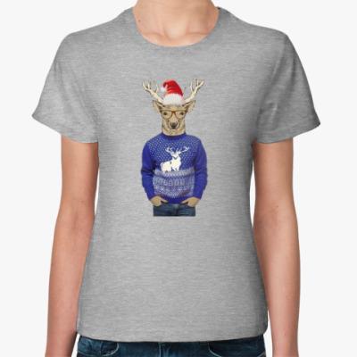 Женская футболка Олень хипстер в шапке Санты