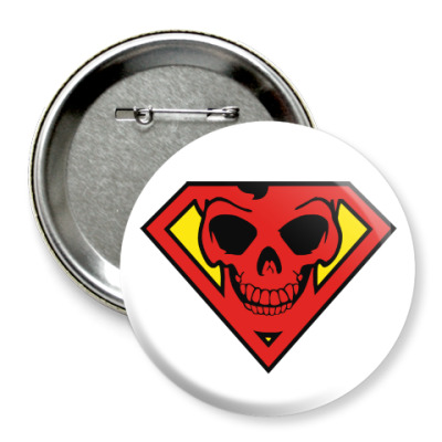 Значок 75мм Skull Superman