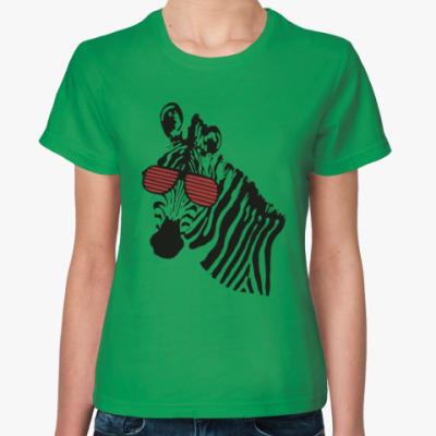 Женская футболка Зебра в очках