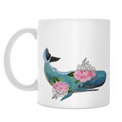 Кружка Кит кашалот в цветах