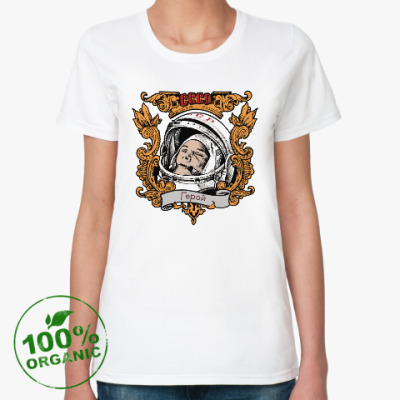 Женская футболка из органик-хлопка  Гагарин