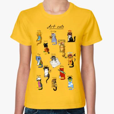 Женская футболка История Искусств и коты художники
