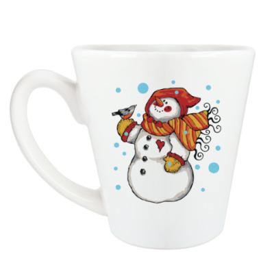 Чашка Латте Снеговик и снегирь