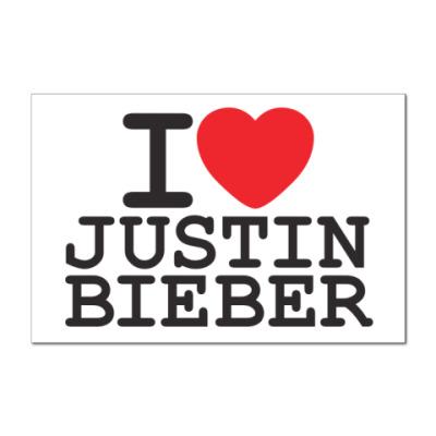 Наклейка (стикер)  Я люблю Джастина