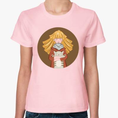 Женская футболка Девочка и котик