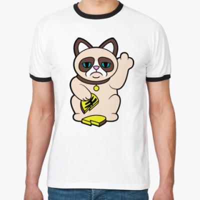 Футболка Ringer-T Tard Grumpy Cat Maneki Neko