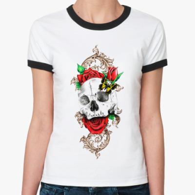 Женская футболка Ringer-T Skull&Roses  Ж()
