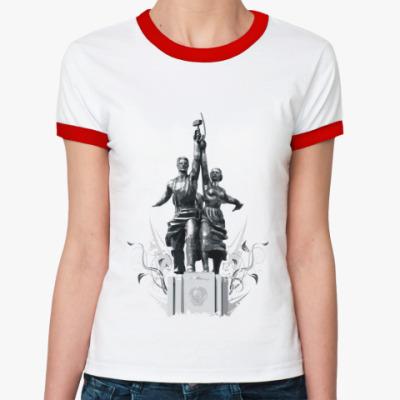 Женская футболка Ringer-T «Рабочий и колхозница»